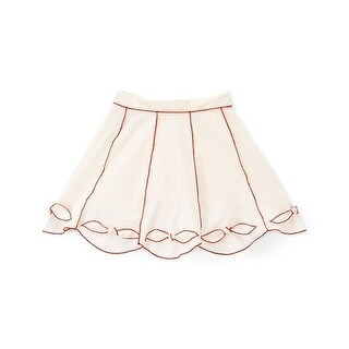 Girls Ivory Red Contrast Piping Bow Cotton Stylish Skirt
