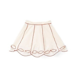 Little Girls Ivory Red Contrast Piping Bow Cotton Stylish Skirt