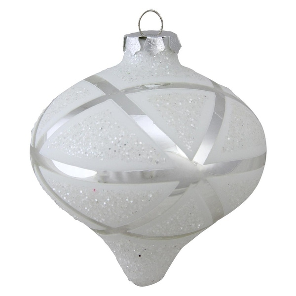 "5"" Geometric Glass Christmas Onion Ornament - silver"