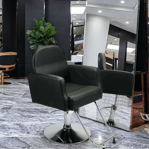 Barber Chair with Round Base Salon Beauty Hair Styling Equipment