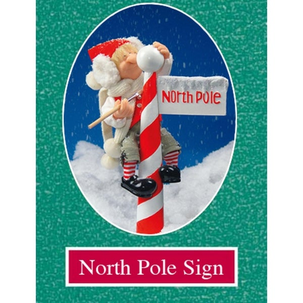 """16"""" Zims The Elves Themselves North Pole Sign Collectible Christmas Decoration"""