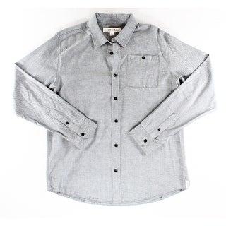 Ezekiel NEW Gray Mens Size XL Double Pocket Woven Button Down Shirt