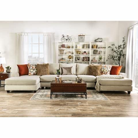 Furniture of America Pluttnam Transitional Tan Microfiber Sectional