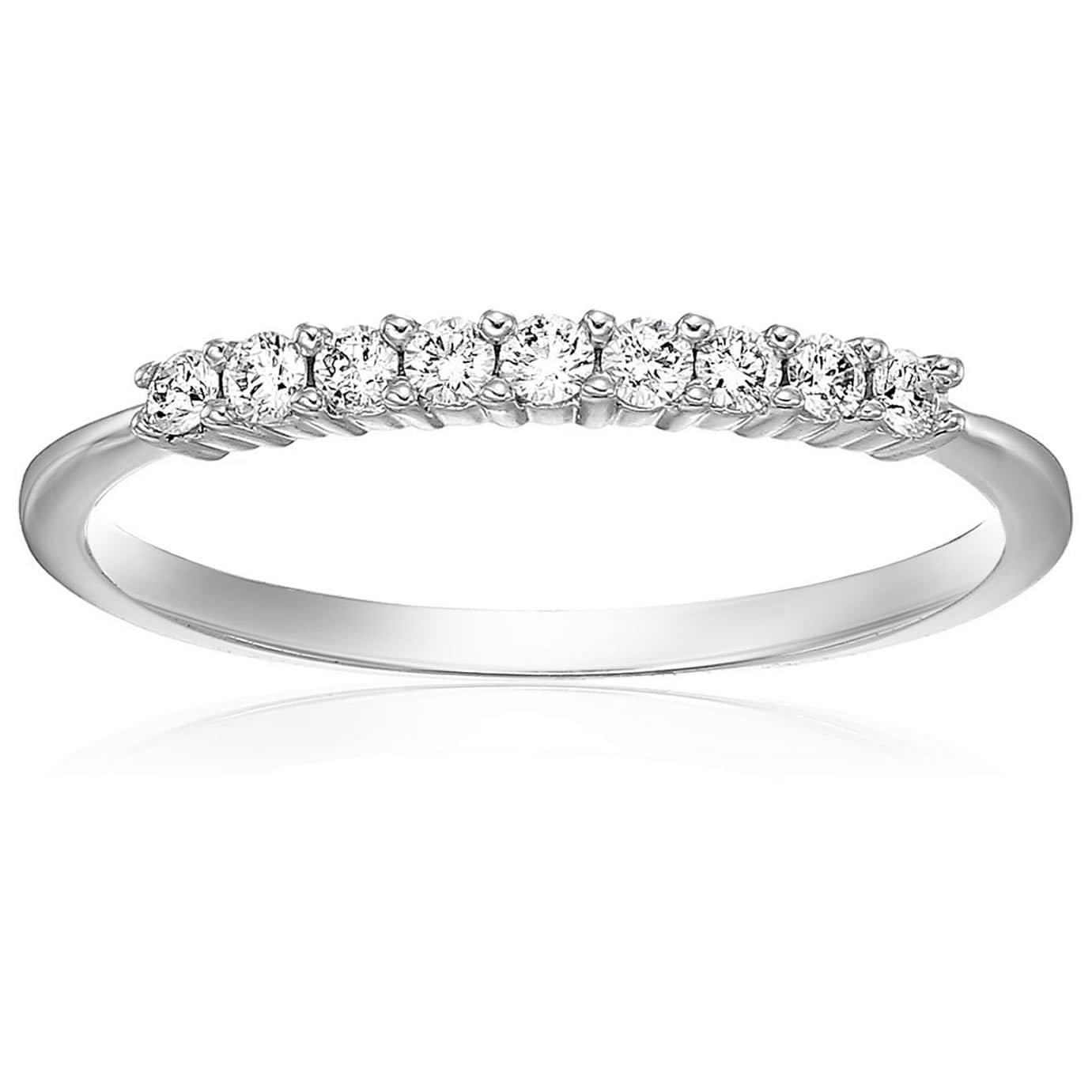 G-H,I2-I3 Diamond Wedding Band in Sterling Silver 1//5 cttw, Size-4