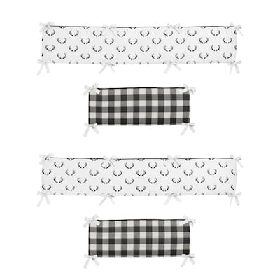 Black and White Buffalo Plaid Collection Boy Baby Crib Bumper Pad - Woodland Rustic Country Farmhouse Check Deer Lumberjack