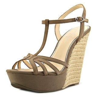 Jessica Simpson Bevin Women Open Toe Leather Gray Wedge Sandal