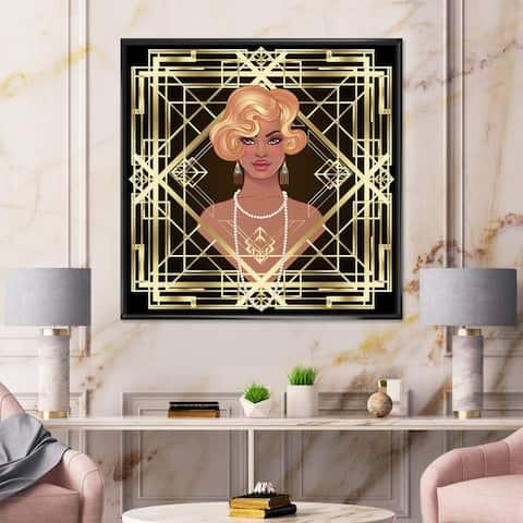 Designart 'Retro Women In Golden Art Deco Geometrics III' Modern Framed Canvas Wall Art Print