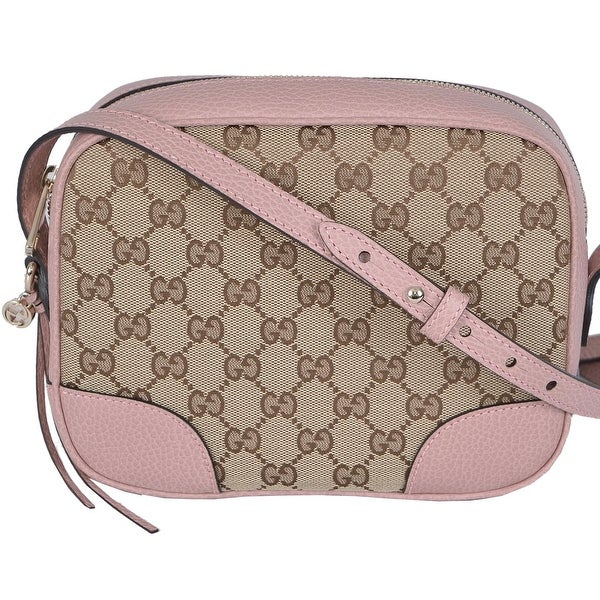 c022f359726e Gucci 449413 Beige Pink Canvas Leather GG Guccissima Bree Crossbody Purse -  Beige/Pink -