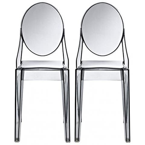 Set of 2, Smoke Transparent Plastic Dining Chairs Modern Designer Stackable Accent
