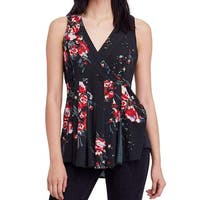 Free People Black Women's Size Large L Floral V-Neck Tunic Top