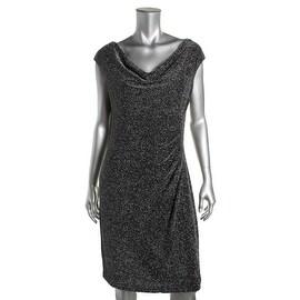 Lauren Ralph Lauren Womens Metallic Cowl Neck Cocktail Dress - 12