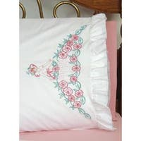 "Flower Lady - Stamped Ruffled Edge Pillowcases 30""X20"" 2/Pkg"