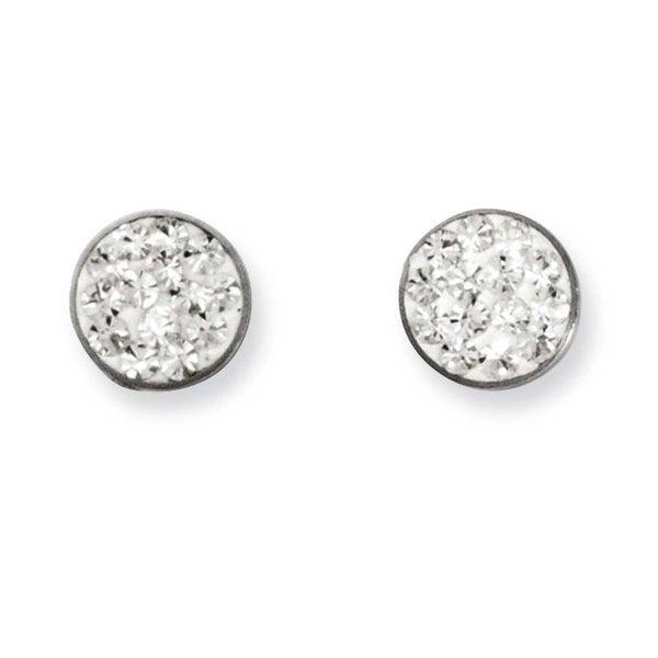 Stainless Steel Clear Crystal Post Earrings