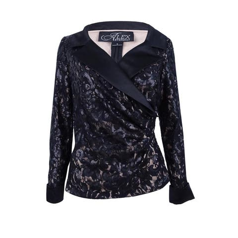 Alex Evenings Women's Sequin Lace Faux-Wrap Blouse