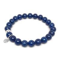 "Blue Jade Lucy 7"" Sterling Silver Stretch Bracelet"