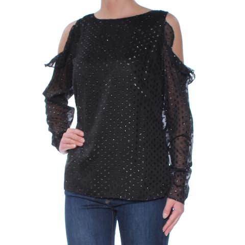 TOMMY HILFIGER Womens Black Cold Shoulder Ruffled Polka Dot Long Sleeve Crew Neck Top Size: XS