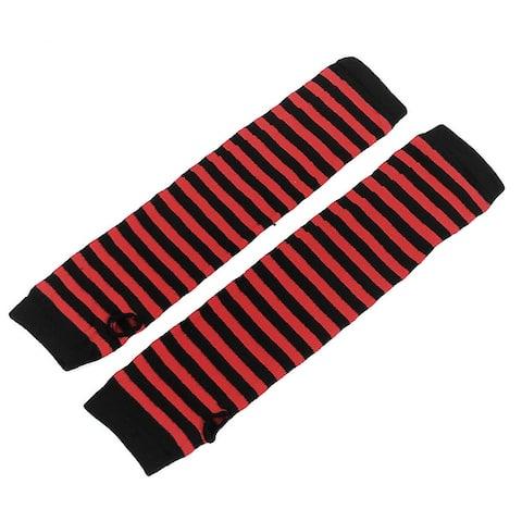 Women Stripe Pattern Elbow Length Fingerless Arm Warmers Gloves Pair