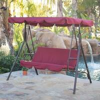 BELLEZE Porch Swing Soft Cushioned Sunlight Protection 3 Seat Polyester Fabric Bench Swing Glider UV Backrest Burgundy