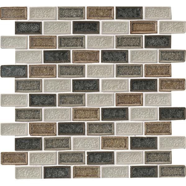 "MSI SMOT-GLSGGBRK-8MM 1"" x 2"" Brick Joint Mosaic Tile - Glossy Glass Visual - Sold by Carton (10 SF/Carton)"