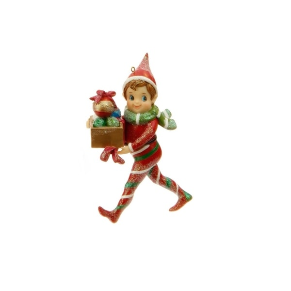 "5"" Little Boy Elf with Ornament Gift Box Christmas Ornament"