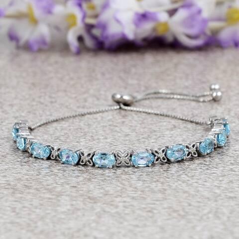 Swiss Blue Topaz, Diamond Sterling Silver Oval, Round Link Bracelet by Orchid Jewelry