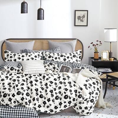 Hepburn Black/White Floral 100% Cotton Reversible Comforter Set