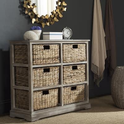 """SAFAVIEH Keenan Winter Melody 6-drawer Wicker Basket Storage Chest - 32.1"""" x 13.4"""" x 29.5"""""""