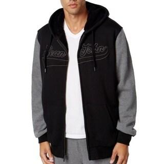 Sean John NEW Black Mens Size Medium M Logo-Print Full Zip Fleece Jacket