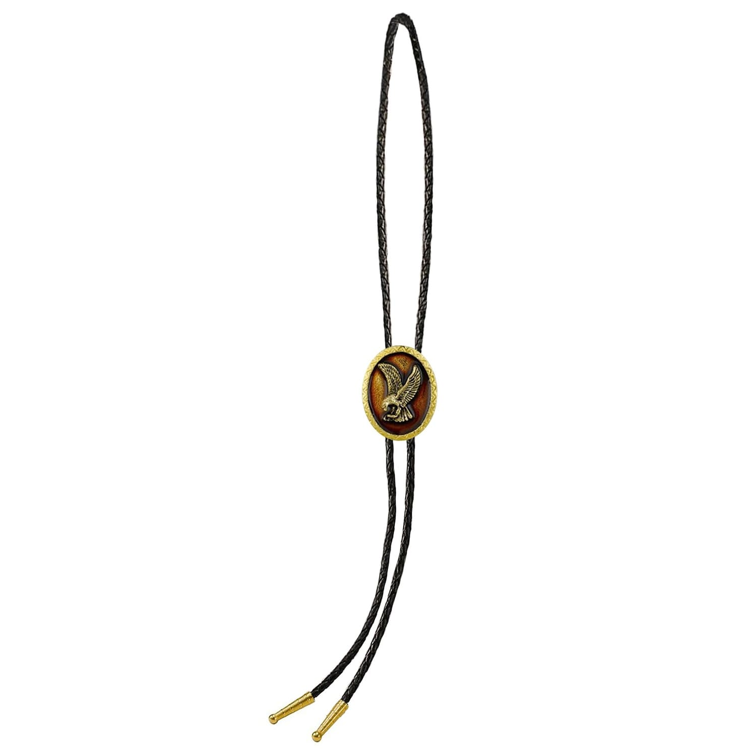 18 inch hang Mens Western Bolo Tie Gold Tone Plated Eagle with Black Leatherette