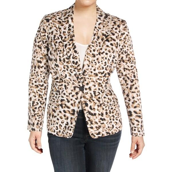 8be0c22c7da0f Shop Calvin Klein Womens Plus One-Button Blazer Animal Print Long ...