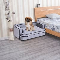 Costway Pet Lounge Grey Soft Warm Comfortable Dog and Puppy Sleeping Bed, Couch and Sofa with Cushion