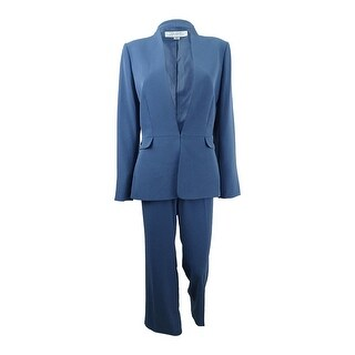 Tahari ASL Women's Collarless Pantsuit (6, Vintage Blue) - Vintage Blue - 6