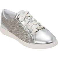 07ea18a4bd52 Foot Petals Women s Andi Classic Trainer Silver Genuine Leather Woven Fabric
