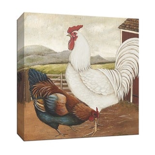 """PTM Images 9-152901  PTM Canvas Collection 12"""" x 12"""" - """"Rooster Pair III"""" Giclee Roosters Art Print on Canvas"""