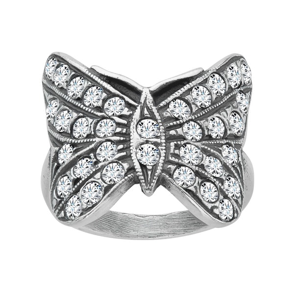 Van Kempen Art Nouveau Butterfly Ring with Swarovski Elements Crystals in Sterling Silver - White