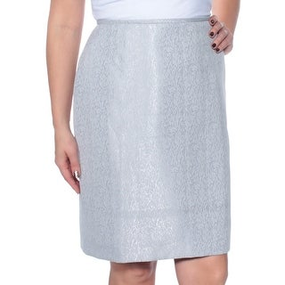 Womens Silver Above The Knee Pencil Wear To Work Skirt Size 14