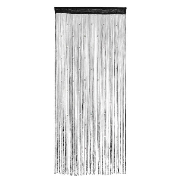 Home Window Door Polyester String Bead Ornament Curtain Tassel Black 100 x 200cm