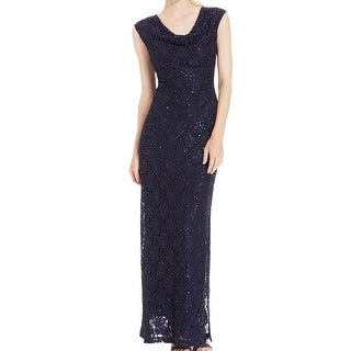 Connected Apparel NEW Blue Women's Size 14 Sheath Sequin Lace Dress