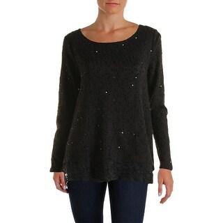 Alfani Lace Trim Sequin Knit Long Sleeve Top Sweater