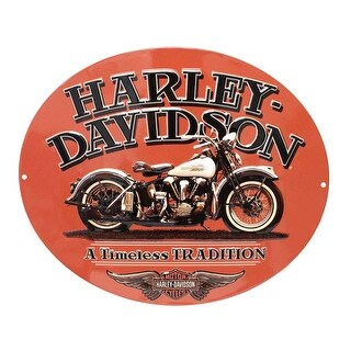 "Harley-Davidson Embossed Timeless Vintage Motorcycle Tin Sign, Orange 2010781 - 15.75"" x 13"""
