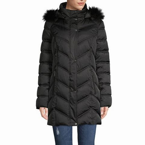 Kenneth Cole Women's Jacket Black Size Small S Puffer Faux-Fur Trim