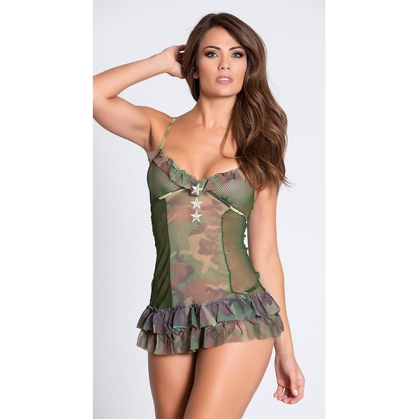 d8638dc5d8520 Shop Classic Camo Chemise And Thong, Army Chemise With Camouflage Print -  Free Shipping On Orders Over $45 - Overstock - 27738894