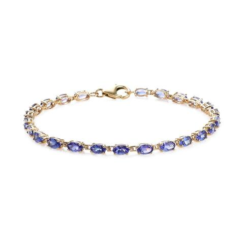 Shop LC Yellow Gold Blue Tanzanite Bracelet Size 7.25 Inches Ct 4.5 - Bracelet 7.25''