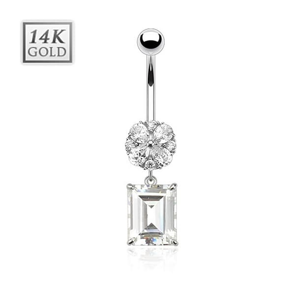 Flower with Princess Cut Square CZ Dangle with 14 Karat Solid White Gold Navel Belly Button Ring