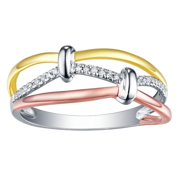 Prism Jewel 0.11CT G-H//I1 Natural Diamond Tri-Tone Gold Twisted Ring