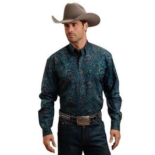 Stetson Western Shirt Mens Paisley L/S Blue 11-001-0525-0618 BU