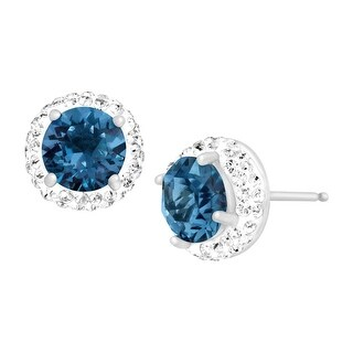 Crystaluxe September Earrings with Royal Blue Swarovski Crystals in Sterling Silver