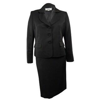 Le Suit NEW Black Shimmer Two Piece Career Women's Size 12 Skirt Suit