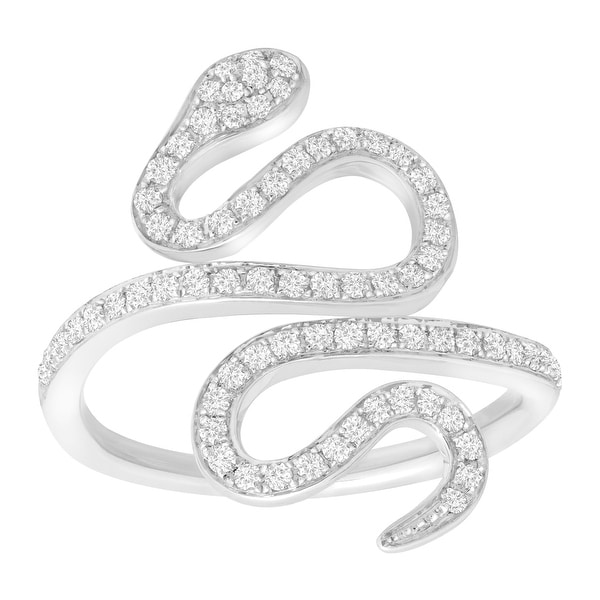1/2 ct Diamond Snake Ring in 14K White Gold