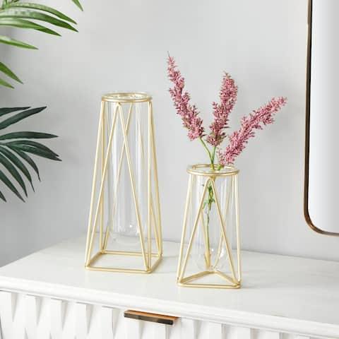 CosmoLiving by Cosmopolitan Iron Modern Vase (Set of 2) - 5 x 5 x 9 Round